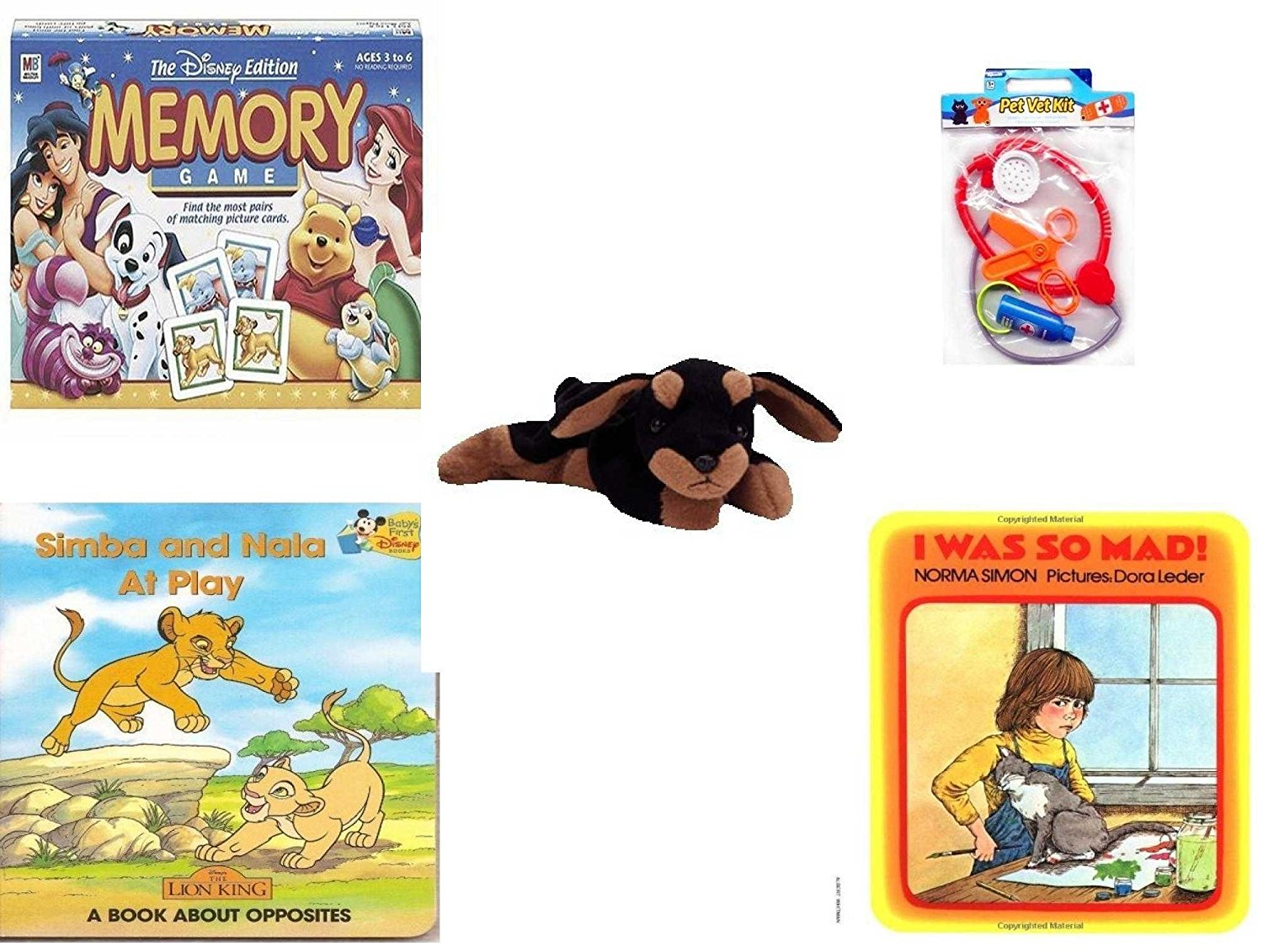 Children's Gift Bundle - Ages 3-5 [5 Piece] - The Disney Edition Memory Game - Pet Vet Kit Veterinarian 4pc Set Toy - Ty Beanie Baby - Doby the Doberman - Simba and Nala At Play: A Book About Opposi