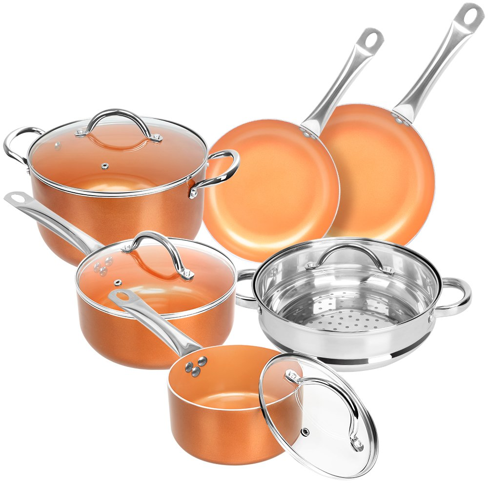 Nonstick Ceramic Copper 10 Pieces Cookware Set, Aluminum Pots and Frying Pans Set, Steamer and Sauce pan