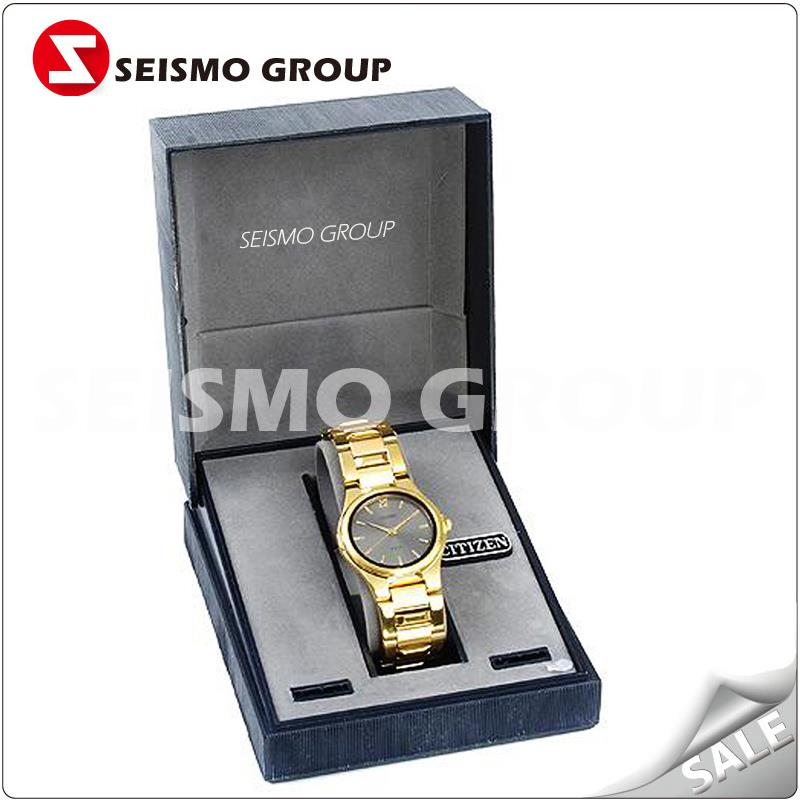 Ttelescopic plastic gift men watch display box black case packing