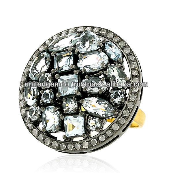 Aquamarine Gemstone Party Rings,Prong Setting Gemstone Designer ...