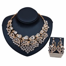 Wholesale indian jewelry golden jewelry earring set crystal shiny diamond design jewellery TD68Y08