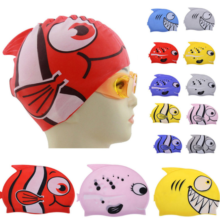 Hot Lovely Children Cartoon Swimming Cap Silicon Diving Waterproof Protect Ear Fish Shape Swimming Caps EA14