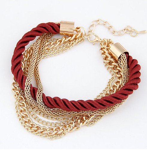 Мода черный роскошный плетеный многослойная браслет сплава браслет мода женские украшения браслеты