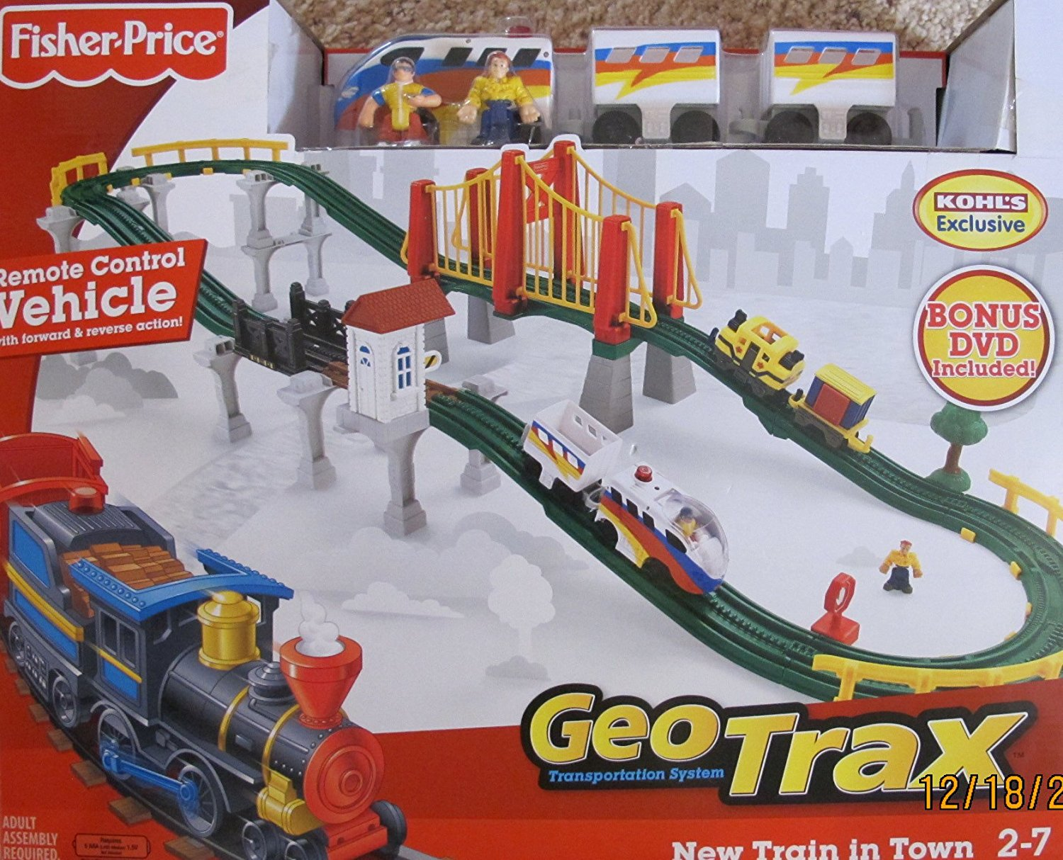 GEO TRAX GeoTrax REMOTE Control NEW TRAIN in TOWN SET w 2 TEAMS (FASTEST TEAM & CONFUSED TEAM), BRIDGES, DVD & More KOHL'S EXCLUSIVE (2009)