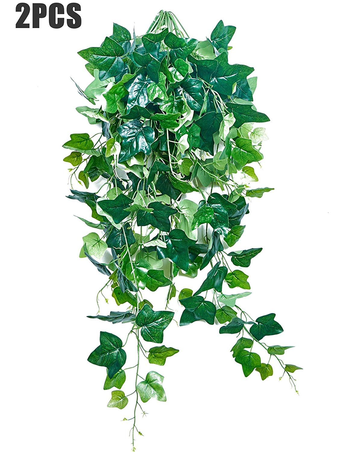 2pcs 41.7inch Artificial Ivy Hanging Plastic Greenery Fake Vine Plants Faux Green Leaves Home Wall Decor Indoor Outdside Hanging Basket