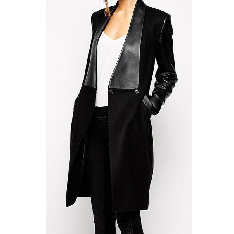 38fbc17c4de20 Get Quotations · 2015 New Design Woman Autumn Winter Long Woolen Trenchcoat  With Leather Sleeves Slim Black Trench Coat