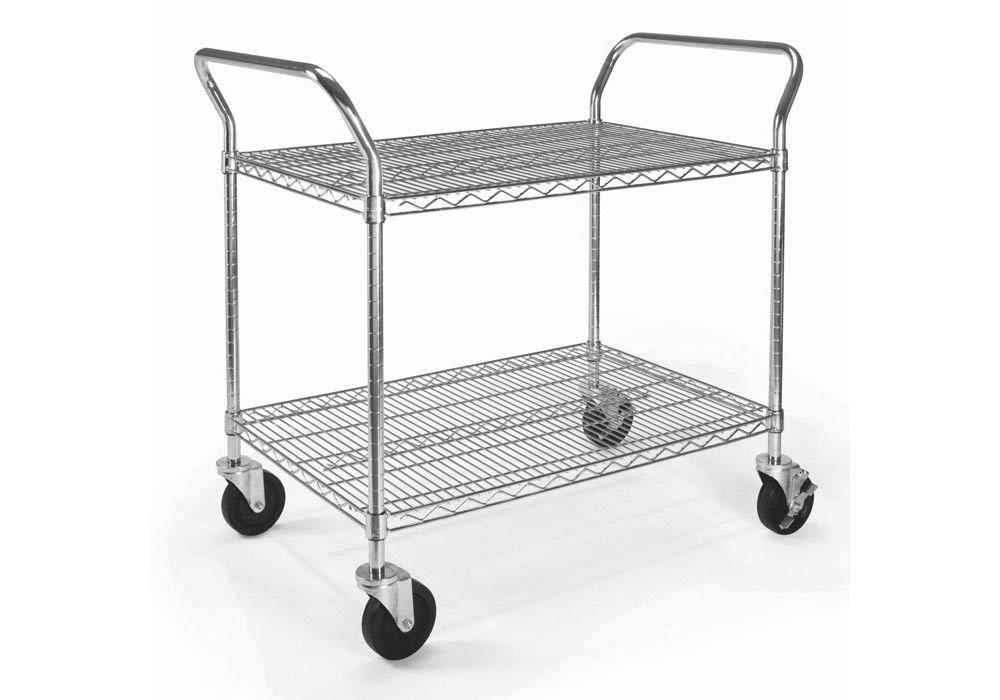 "Heavy Duty Mobile Cart 36""W x 24""D ChromeDimensions: 36""W x 24""D x 37.75""H Weight: 41 lbs."