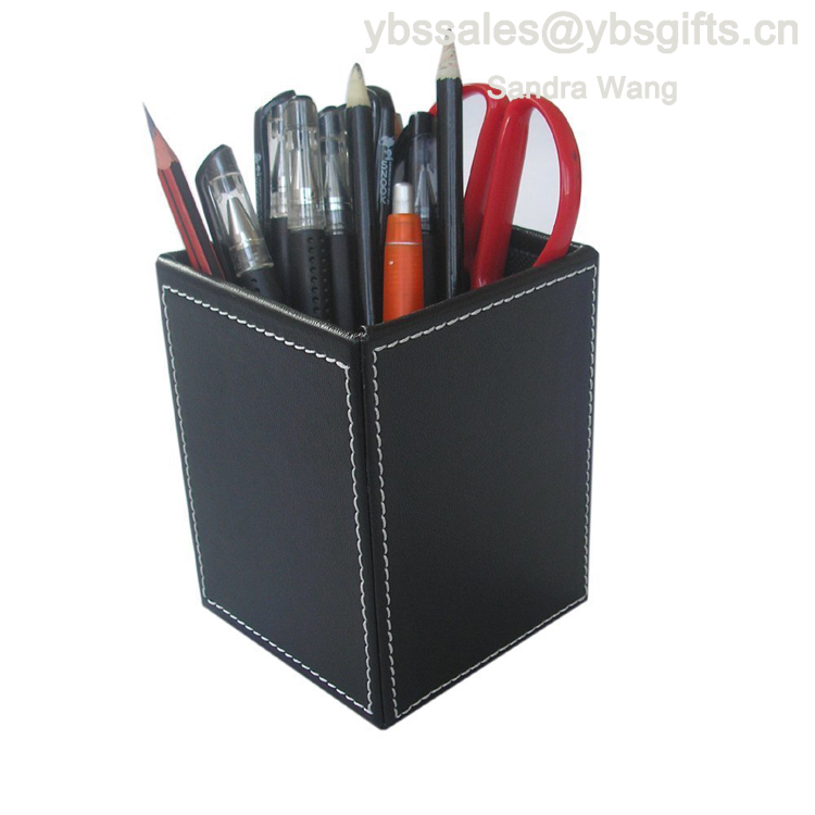 Leather Square Pens Pencils Holder Desktop Organizer Office Desk Accessories