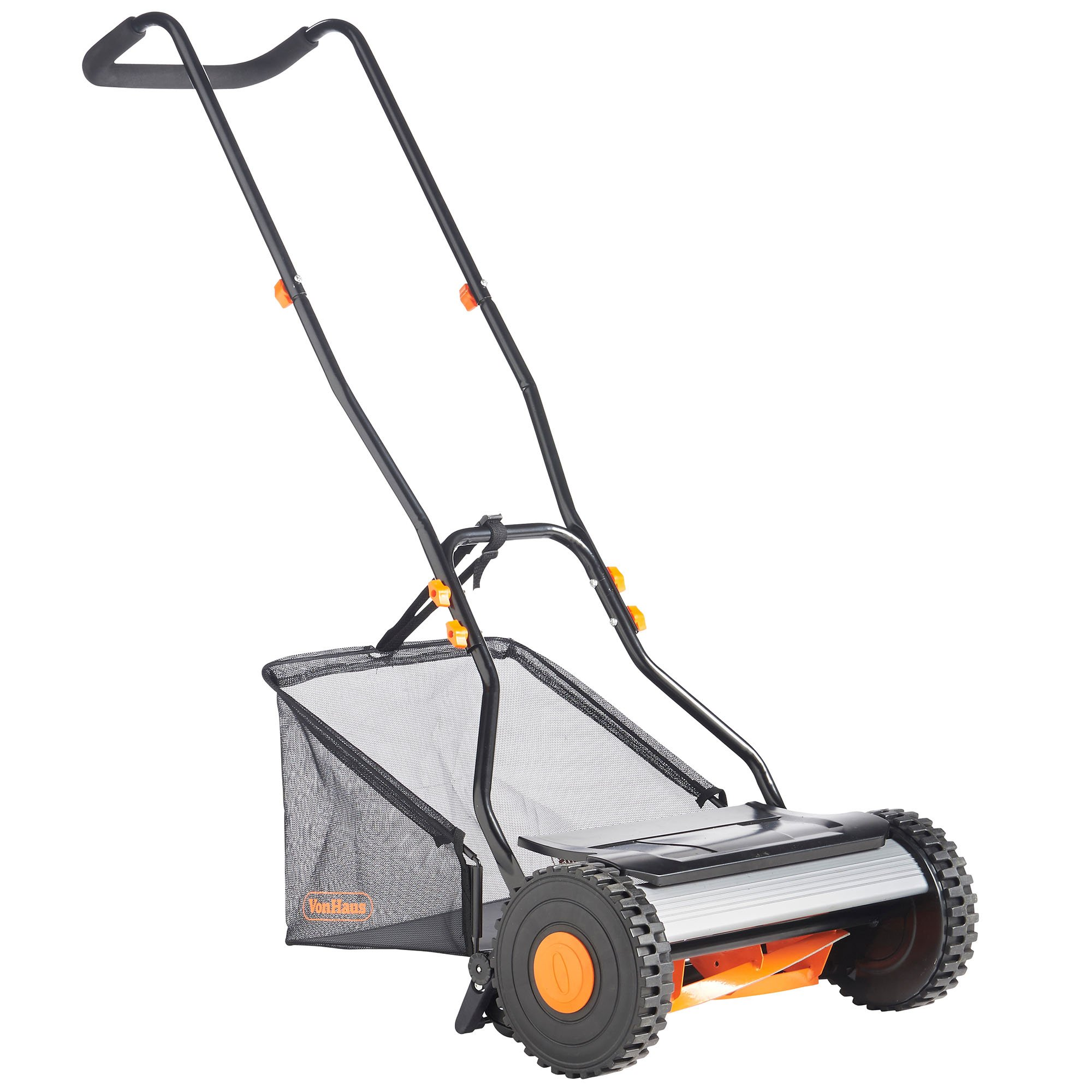 "Get Quotations · VonHaus 15"" Reel Mower - Manual Hand Push Lawn Mower with  23L Detachable Grass Catcher"