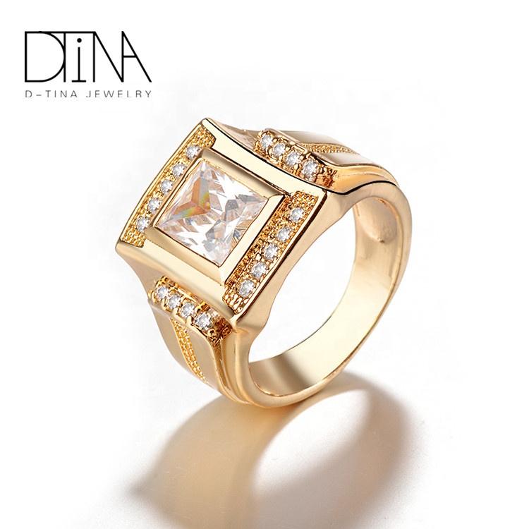 DTINA Dubai Prince Couple Gold Plated Wedding Gem Stone Rings For Boys
