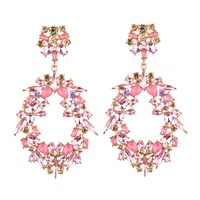 Wholesale Party Gift Bohemia Crystal Oval Drop Earring Dangle Female Pink Diamond Hoop Earrings