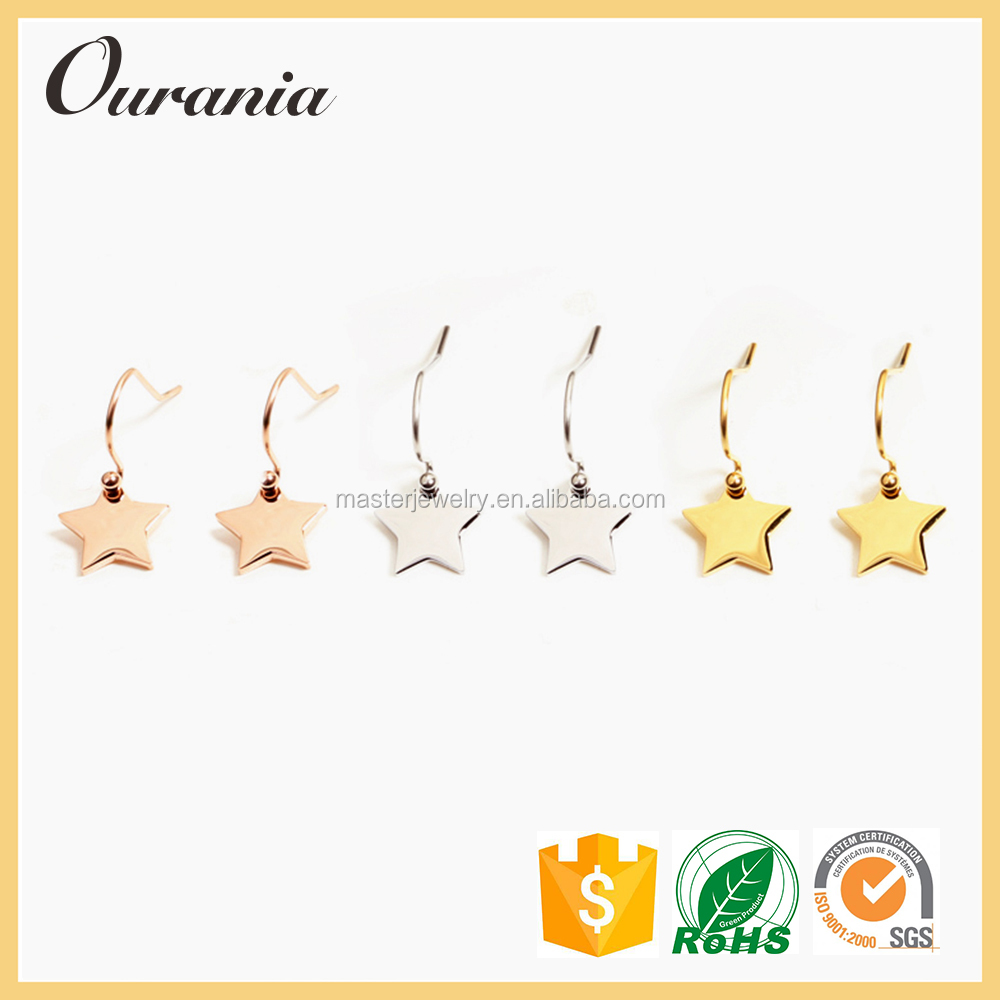 14k Gold Plated Stainless Steel Star Charm Earrings For Ladies