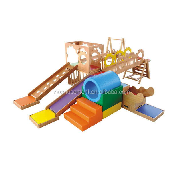 Hot Sale Kids Indoor Early Education Soft Play Climbing Equipment And Wooden  Slide.