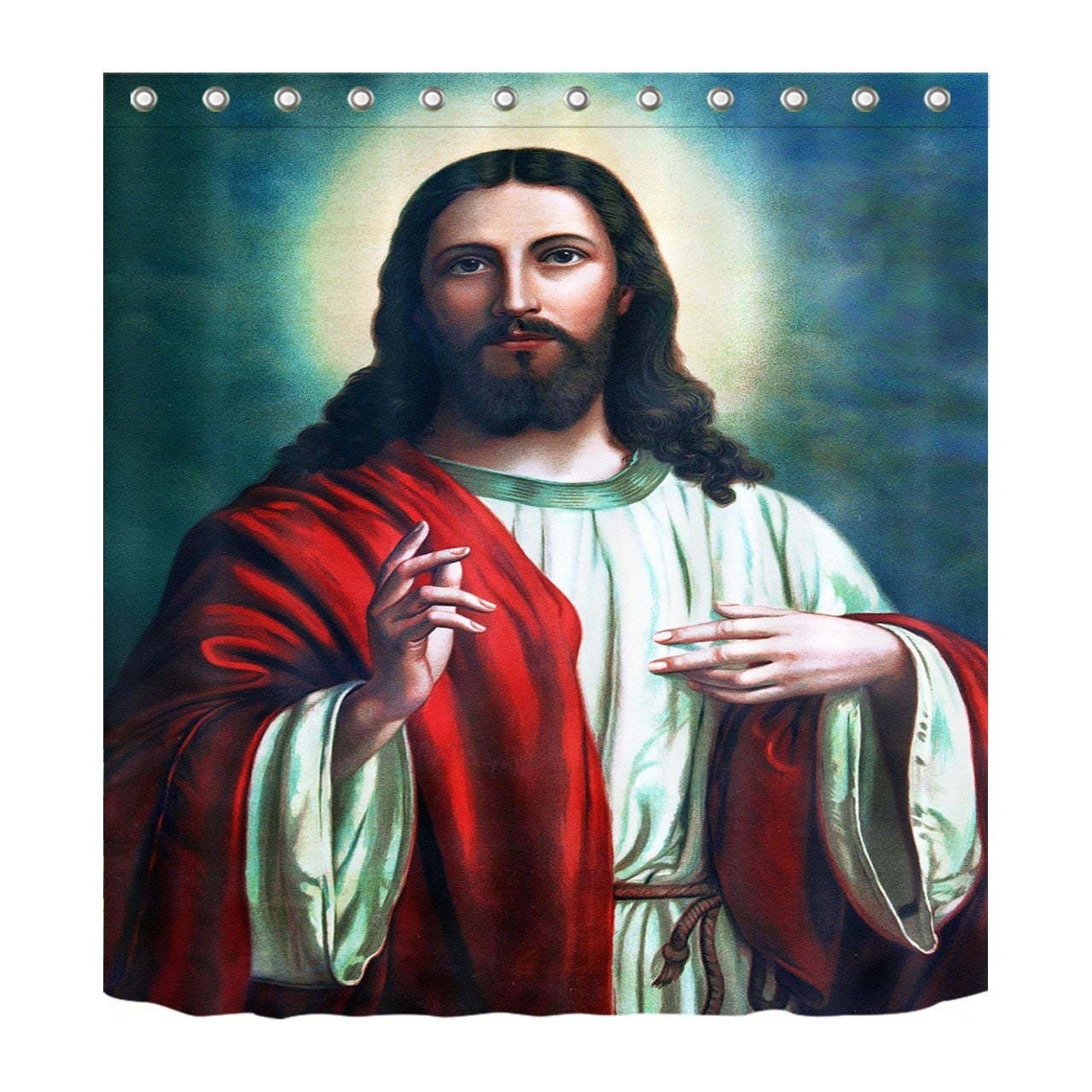 LB Son of God Jesus Christ Bless Decoration Shower Curtain Polyester Fabric 3D 60x72 Mildew Resistant Waterproof Lord Red Clothing Halo Bathroom Bath Curtains Liner Set Hooks