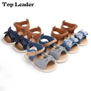 Top Leader 2018 Summer New 0-1 Year-old Girl Baby Bow Soft Bottom Sandals