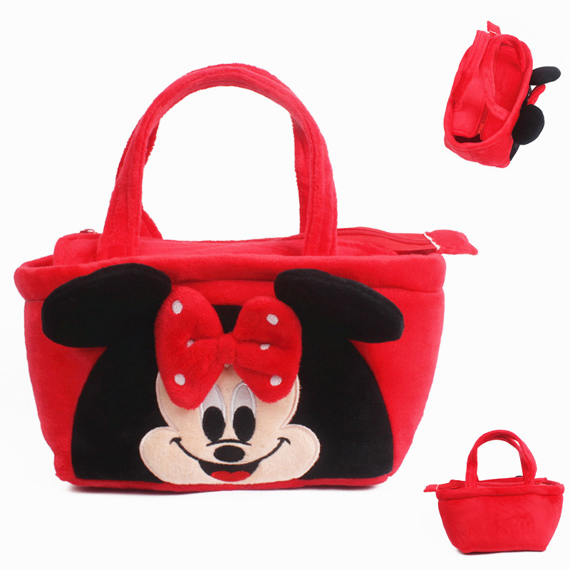 Red Color Cute Cartoon Minnie Baby Girls Mini Soft Plush School Bag Kids Children Handbag for Toys& Snack