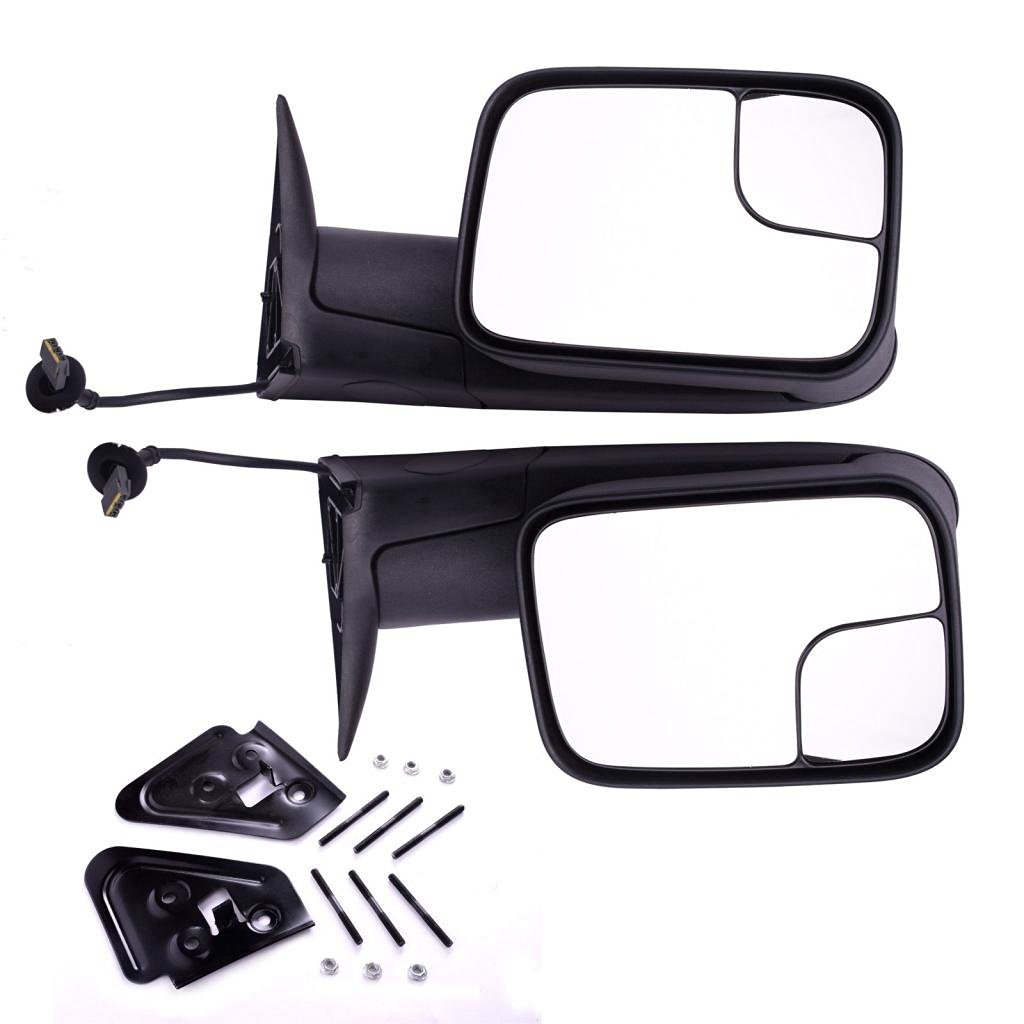 DEDC Dodge Towing Mirrors Dodge Ram Tow Mirrors Pair Power Operation Manual Folding For 1994-1997 Dodge Ram 1500 2500 3500 Truck 1994 1995 1996 1997