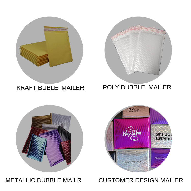 Factory Wholesale Custom Printed Pink Colored Plastic Bubble Mailing Bag Padded Envelope/Metallic Poly Bubble Mailer