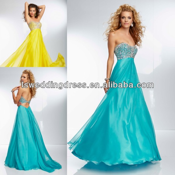 HE2067 New designer tickled pink sweetheart neckline beaded empire waist A-line organza long open back yellow puffy prom dresses