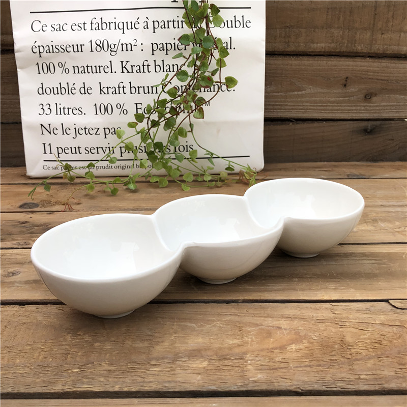 wholesale white ceramic 3 compartment <strong>plate</strong>