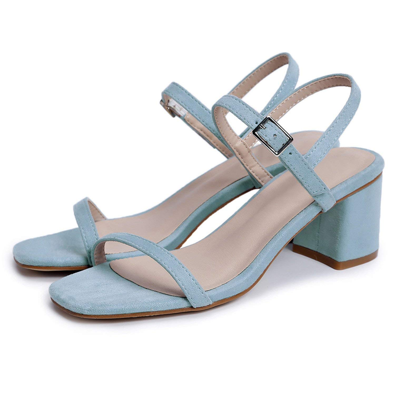 14eedaa218e Get Quotations · Fashion Summer Ladies Shoes Buckle Casual Shoes Woman  Square Heel Elegant Women Suede Leather High Heels
