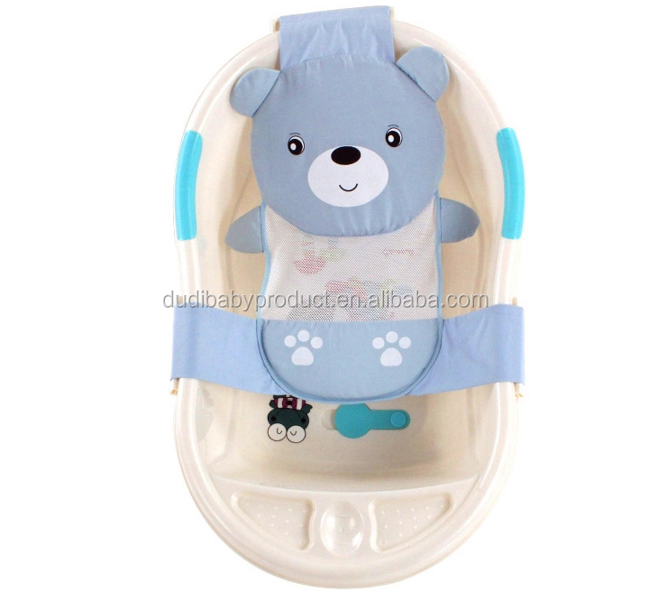 2017 hot selling baby bath 100% cotton bear baby bath support training shampoo bed