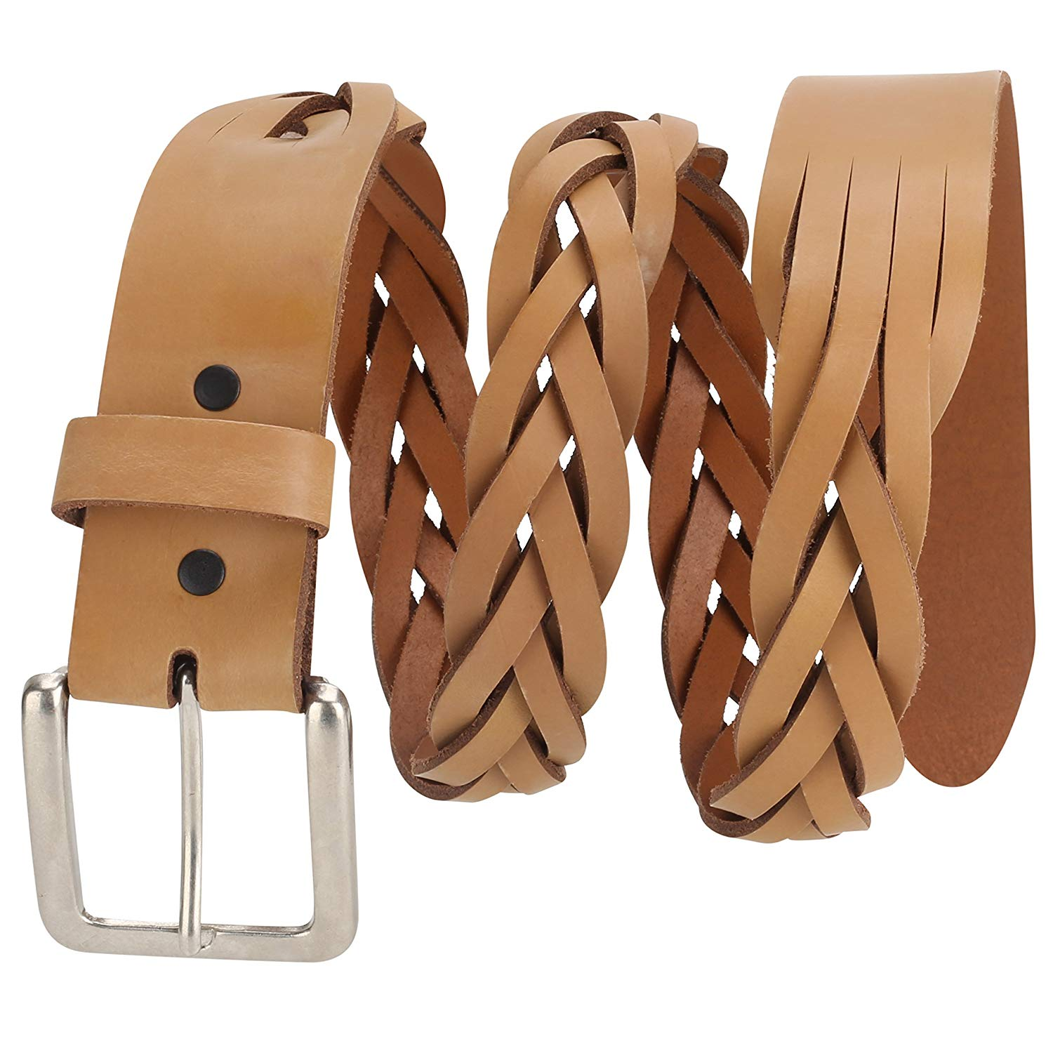 Men's Woven Cowhide Top grain Braided Leather Dress Belt, Made In USA
