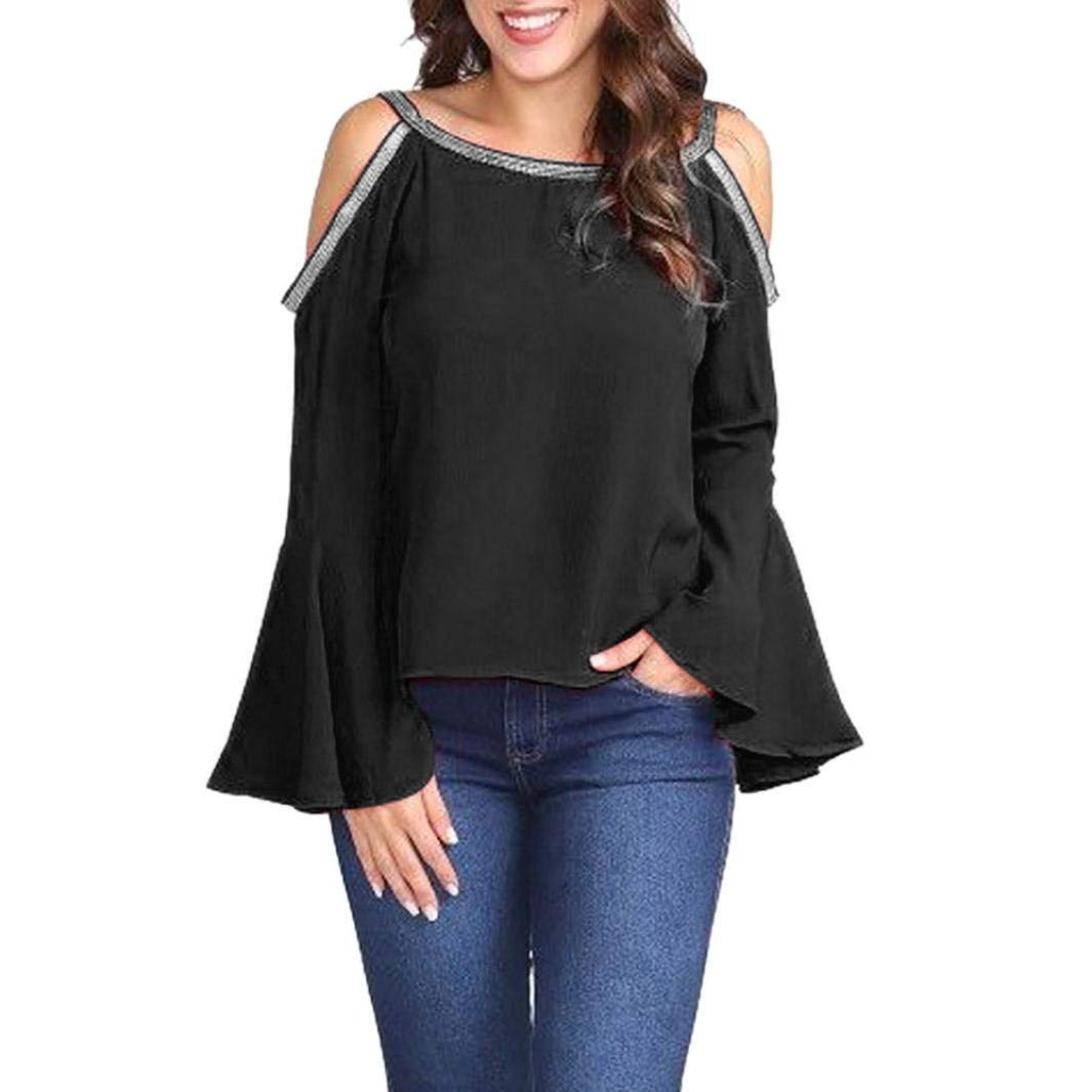 KFSO Women Plus Size Solid Blouse Glitter Off Shoulder Bell Sleeve T-Shirt Top (Black, 2XL)