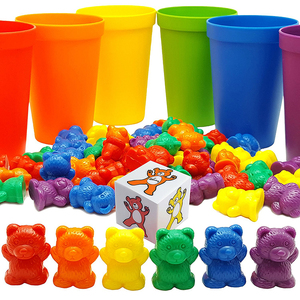 Rainbow Counting Bears with Matching Sorting Cups, Bear Counters and Dice Math Bears Game 70pc Set