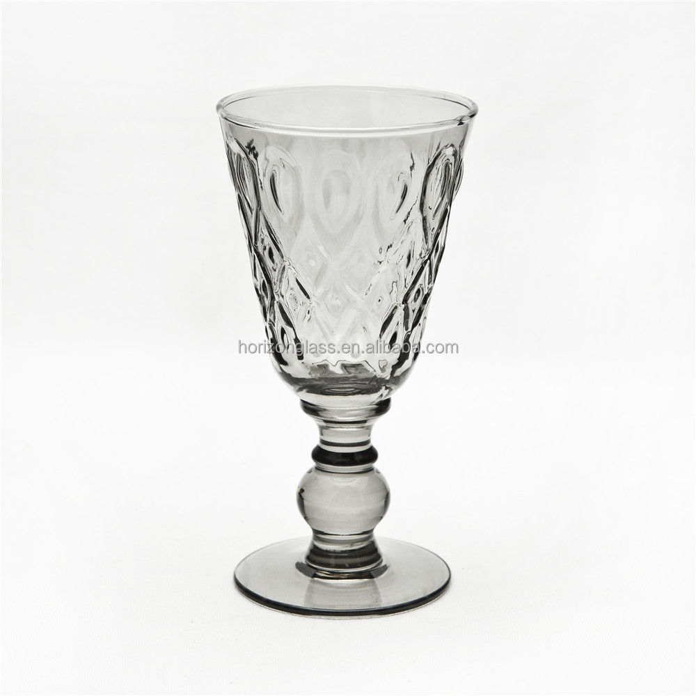 Wholesale Handmade High quality Red Wine Glass GLassware Ash Grey Glass Cup for Wine