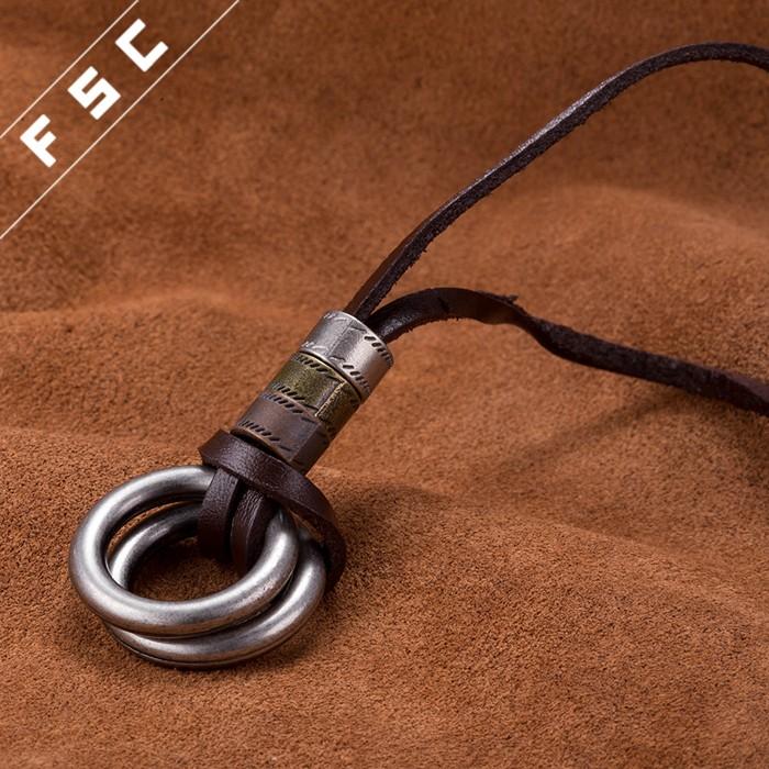 fashion ancient bronze plated rop chain circular pendant