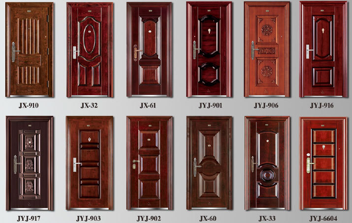 Iso9001 doble dise o de la puerta de seguridad modelos for Modelos puertas metalicas para casas