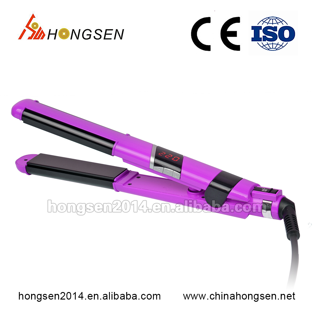 Hot style LCD display professional salon use hair straightener, PTC hair iron, ceramic hair g iron