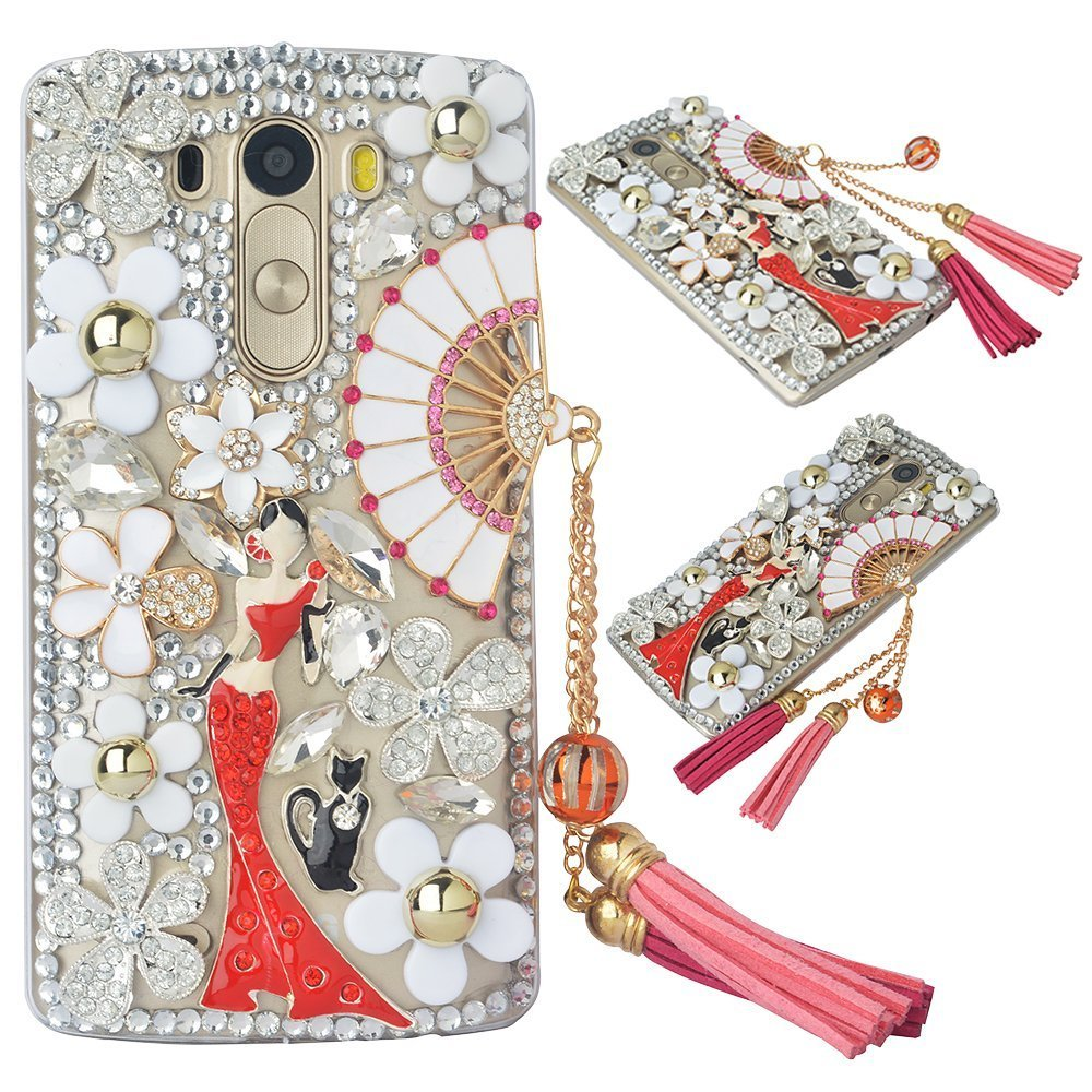 Spritech(TM) Bling Phone Case For LG Optimus G3,3D Handmade Silver Crystal White Flower Fan Pendant Lovely girl Pattern Accessary Design Clear Cellphone Cover