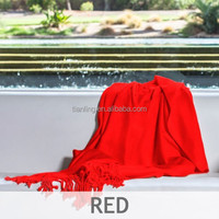 Fleece Blanket Red Bamboo 100% Cotton Woven Throw Blanket for Sale