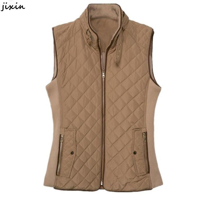 Autumn Winter Coat Jacket Women Quilted Stand Collar Cotton Vest Office Warm Female Fashion Slim Waistcoats colete feminino