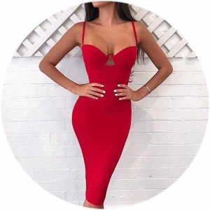 wholesale 2018 high quality rayon mature women strap sexy hollow out midi tight bodycon simple bandage dress with bra