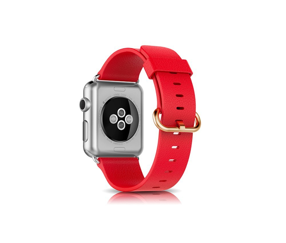 Apple Watch Band, ER CHEN 42mm Genuine Leather Strap Wrist Band Replacement + Metal Clasp Adapter for Apple Watch All Models 42mm ( Red)