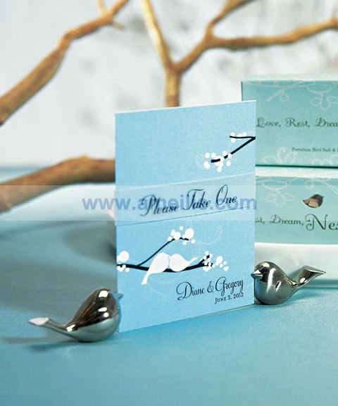 AX004 Love Bird Metal Wedding Favor Place Card Holder