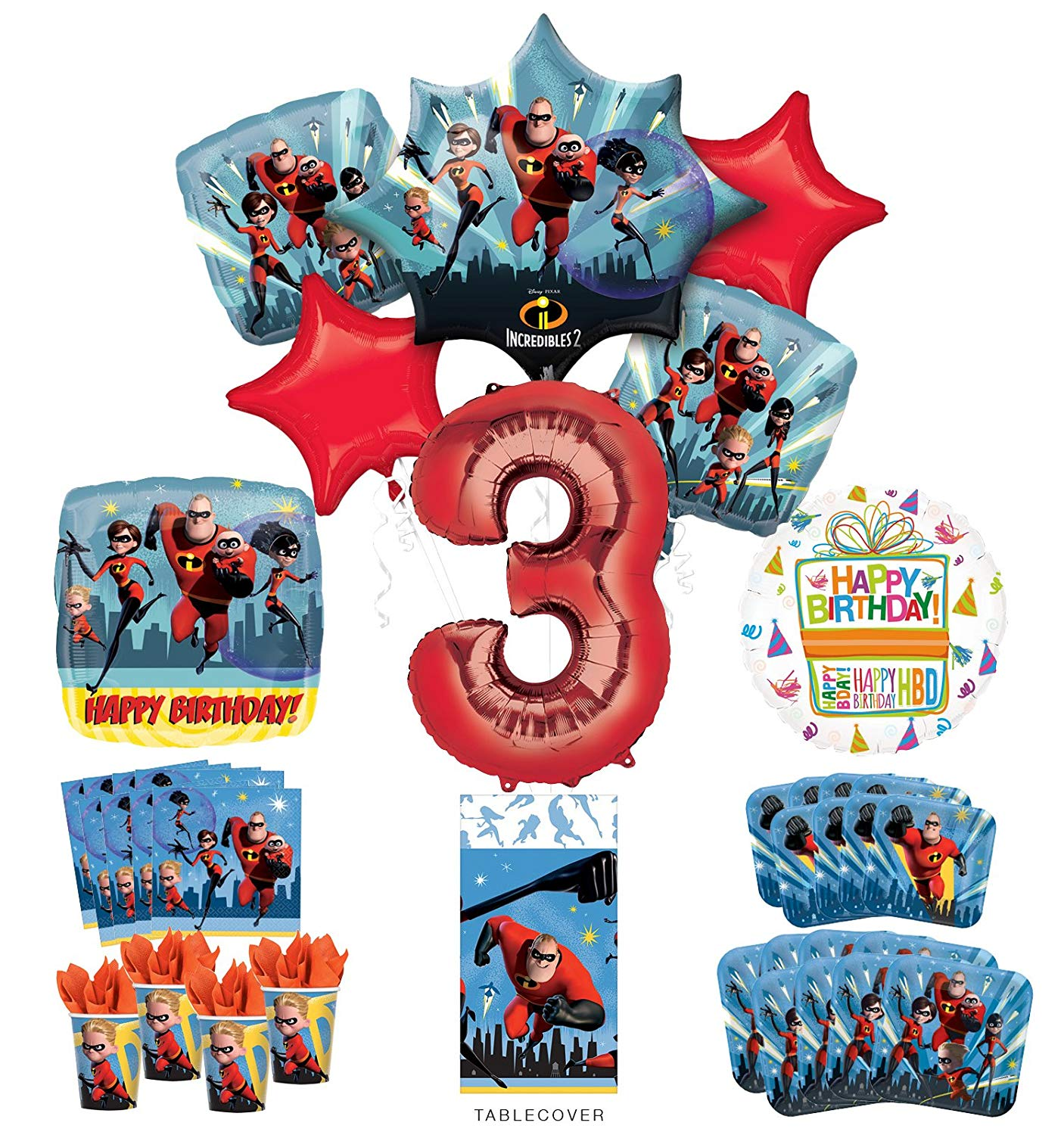 b582412d4 Get Quotations · Incredibles Party Supplies 8 Guests 3rd Birthday Balloon  Bouquet Decorations