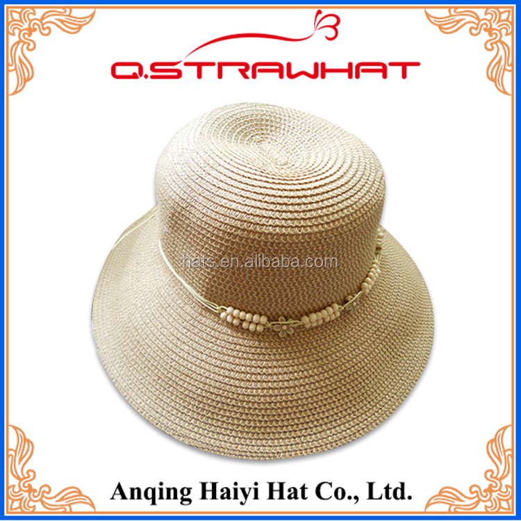 HYSH51 Top Quality Paper Straw Hats with bowknot UV protection summer girls straw hat