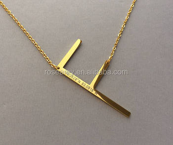 sideways letter engraved coordinates gold plated necklace personalised name necklace buy personalised name necklacesideways letter necklacegold plated