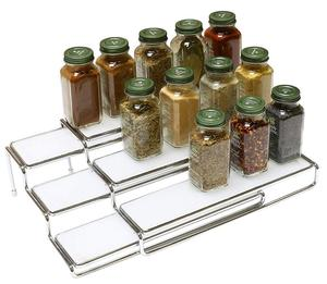 Standing 3 Tier Expandable Cabinet Spice Rack Step Shelf Organizer , fine chrome spice rack