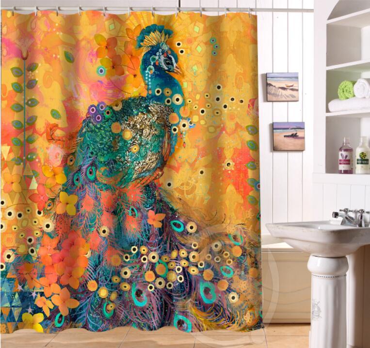 Free Shipping Custom Colorfulful peacock Waterproof Fabric Bathroom Shower Curtain home decoration -LQ320U4