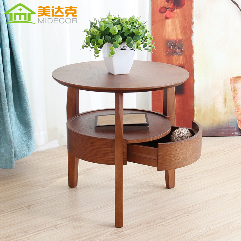 Small round wood table living room coffee table minimalist side table