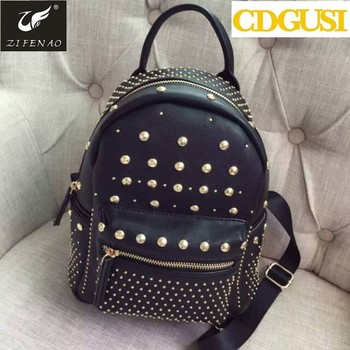 5140ce669ed 2017 new style street fashion women rivet backpacks PU leather school bags  supreme backpack