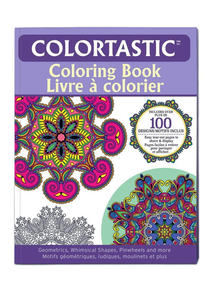 Colortastic Coloring Book - with Coloriig Pencils - Includes over 100 Designs & Shapes-Geometrics,Whimsical Shapes,Pinwheels and More - Easy Tear-out Pages to Share & Display