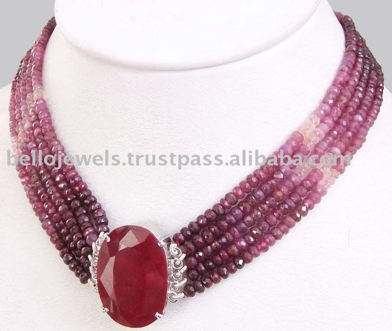 Handcrafted 5 Strand African Ruby Beads Necklace With Silver Clasp ...