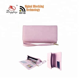China online market id card holder wallet RFID wallet pink color classic ladies blocking wallet