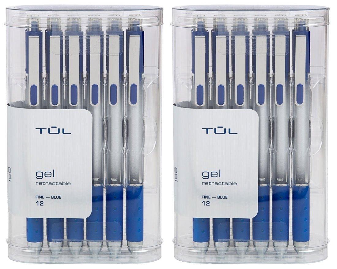 TUL Retractable Gel Pens 0.5mm Fine Point, Blue Value Pack (2 12-packs)